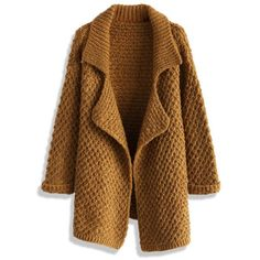 Chicwish Waffle Knit Open Cardigan in Camel ($59) ❤ liked on Polyvore featuring tops, cardigans, coats, outerwear, casacos, brown, stretchy tops, camel top, waffle cardigan and waffle top