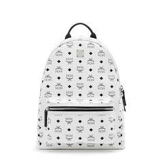 Mcm Medium Stark Backpack In White Backpacks For Boys Canvas