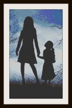 Mother & Daughter Silhouette Cross Stitch by PhotoCrossStitch, $10.00