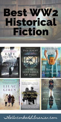 Are you looking for WW2 historical fiction books to read now? Fill up your TBR pile with some of the best WWII historical fiction books including The Huntress by Kate Quinn, The Lost Girls Of Paris by Pam Jenoff, The Book of Lost Names by Kristin Harmel, Lilac Girls by Martha Hall Kelly, We Were The Lucky Ones by Georgia Hunter, and Code Name Helene by Ariel Lawhon. We'll share World War II historical fiction in romance, indie, bestsellers, mysteries, and thrillers. Historical Fiction Books For Kids, Fiction Books To Read, Historical Romance Books, Book Club Books, Book Lists, The Book, Book Cafe, Best Books For Teens, Libros