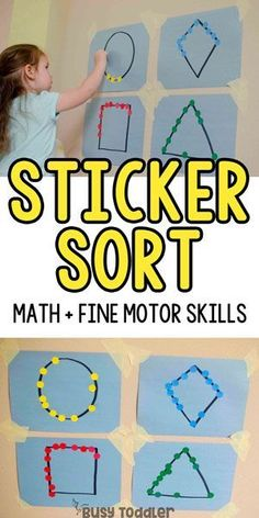 STICKER SHAPES: A quick and easy fine motor skills activity that toddlers will love! This easy small motors activity is perfect for toddlers; a quick and easy preschool math activity; easy indoor activity from Busy Toddler