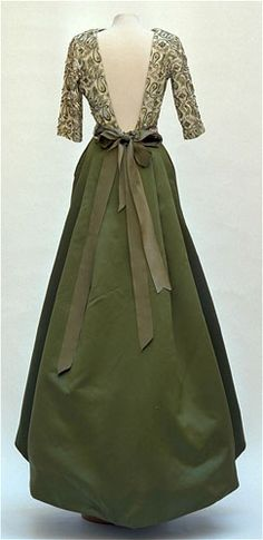 1965 Fontana vintage dress in forest green silk made for Princess Grace of Monaco