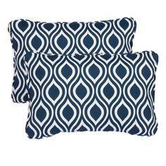 Wavy Navy Corded 13 x 20 inch Indoor/ Outdoor Throw Pillows (Set of 2)
