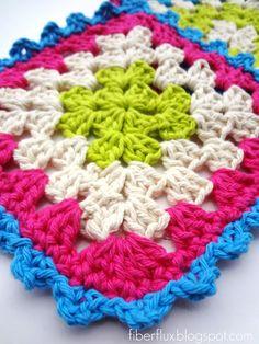 free granny square dishcloth crochet patterns - Google Search