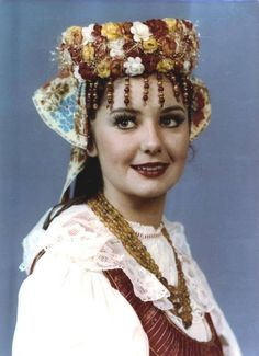 Europe | Portrait of a woman wearing traditional clothes and headdress, Silesia, Poland #flowercrown