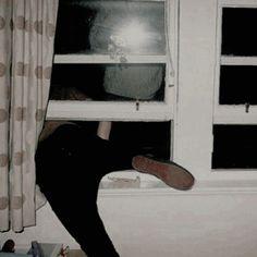 Chuck successfully getting himself stuck in Jack's window.