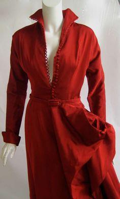 1950's Ceil Chapman Red Silk Sharkskin Sculptural Cocktail Dress