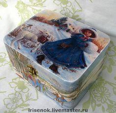 """Купить """"Зимние забавы"""", шкатулка - шкатулка, зима, ретро, голубой, Декупаж, роспись, шкатулка деревянная"""