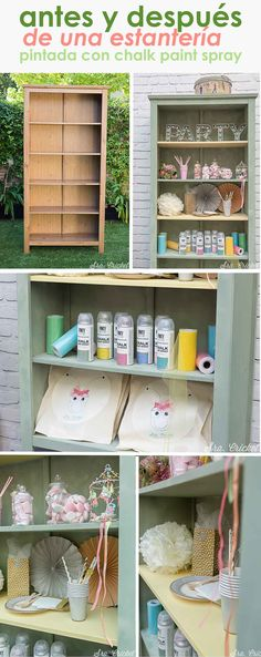 Antes y después de una estantería pintada con chalk paint spray #chalkpaint #estanteriadiy #diy #spraypainting
