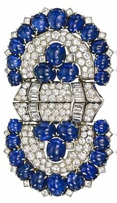 An Art Deco Cabochon Sapphire & Diamond Brooch by BVLGARI