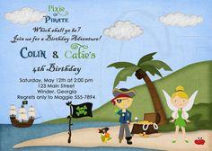 Pirate and Pixie Birthday Invitation Girl by graciegirldesigns77