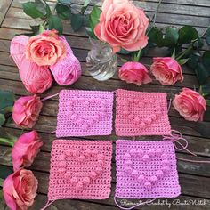 Bobble stitch heart by BautaWitch Bobble Stitch Crochet Blanket, Double Crochet Baby Blanket, Baby Afghan Crochet, Crochet Square Patterns, Crotchet Patterns, Crochet Squares, Crochet Box, Knit Or Crochet, Crochet Ideas