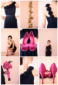 emmy rossum, hot pink + navy bridesmaid style copyright @Kristin :: Teal White Garden Vining Photography Charlotte, NC Wedding Photographer Love the pink shoes for everyday look- would prefer silver shoes or something in peacock color pallet.