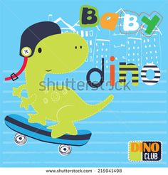 cute skateboarder baby dinosaur in the city vector illustration - stock vector