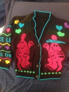 Reconditioned/Certified - Vintage Barney cardigan! It's more black but the lighting from my phone made the sweater look lighter... I would say this sweater can fit a 4T and up to 6T  My price is firm! Serious buyers only! Pickup only, locally