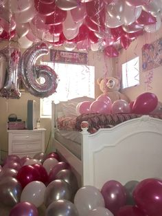 Surprise decorated room with balloons! Sweet 16 party ideas! Pink, silver, and white Party! Sweet 16 ideas! Birthday Room Surprise, Birthday Party For Teens, 16th Birthday Gifts, Sweet 16 Birthday, Birthday Ideas, Teen Birthday, Sweet 16 Party Decorations, Birthday Room Decorations, Sweet 16 Themes