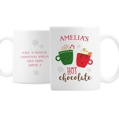 Personalised Ceramic Mug - Cute Christmas Hot Chocolate Design Magical Christmas, Christmas Gifts, Personalized Christmas Mugs, Christmas Hot Chocolate, New Year Gifts, Gifts For Friends, Brand Names, Messages, Ceramics