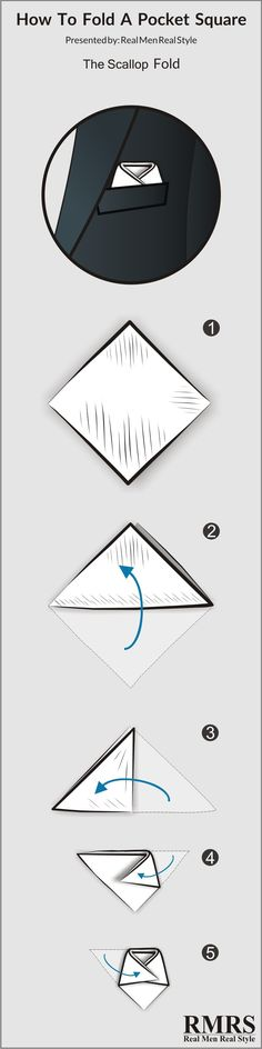 How to fold the Scallop. Pocket Square Folds, Pocket Squares, Pliage Pochette Costume, Real Men Real Style, Pocket Handkerchief, Professional Dresses, Men Formal, Men Style Tips, Well Dressed Men