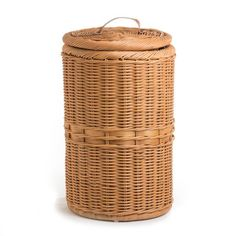 The Basket Lady Tall Waste Basket with Metal Liner in Toasted Oat color