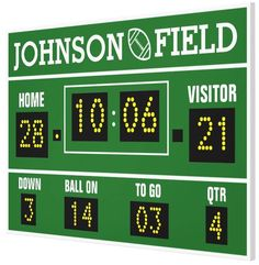 """Personalize your own Football Scoreboard Wrapped Canvas! 60"""" x 40"""" or 36"""" x 24""""   SignsByAndrea.com"""