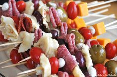 Antipasto Skewers - a perfect appetizer for parties!  Fill them up with tortellini, cheese, olives, salami, tomatoes...what ever you like!  Yum! Great Appetizers, Finger Food Appetizers, Appetizer Dips, Finger Foods, Appetizer Recipes, Delicious Appetizers, Appetizer Skewers, Christmas Appetizers, Party Appetizers