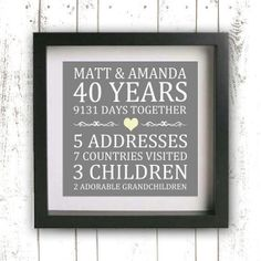 Printable Parent's Gift - Wedding Anniversary - Custom Anniversary Gift - Gift for Spouse - Personalized Gift - Family Sign - Family Name Golden Anniversary Gifts, Anniversary Gifts For Parents, 25th Wedding Anniversary, Anniversary Parties, 50th Anniversary Decorations, Anniversary Surprise, Second Anniversary, Established Family Signs, Parent Gifts