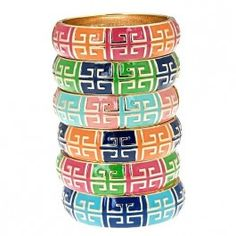 "The perfect enamel bangle to update your wrist, the Grecian Bangles feature a fun geometric pattern set into color blocked enamel. Available in 12 perfect colors, you might find it hard to choose! The Details: The Grecian Bangles measure 2 & 1/2"" diameter and 3/4"" wide. They open and close with a hinged opening and will fit most wrists comfortably."