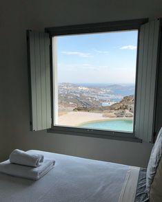 Wake up with a view like this😳🌊 📍Villa Ivy Mykonos Luxury Villas In Greece, Mykonos Greece, Greek Islands, Luxury Living, Ivy, Real Estate, Windows, Summer, Greek Isles