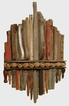 Assemblage Gallery 1 - No Paint Added - Assemblages byLarry Simons Driftwood Sculpture, Driftwood Art, Sculpture Art, Found Object Art, Found Art, Salvaged Wood, Old Wood, Wood Mosaic, Recycled Art