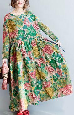 BelineRosa Plus Size Printed Dress Palace Style Floral Printing Dresses Autumn Cotton Linen Ball Gown Dresses Female Long Linen Dresses, Plus Size Maxi Dresses, Cotton Dresses, Plus Size Outfits, Nice Dresses, Casual Dresses, Loose Dresses, Printed Dresses, Chifon Dress