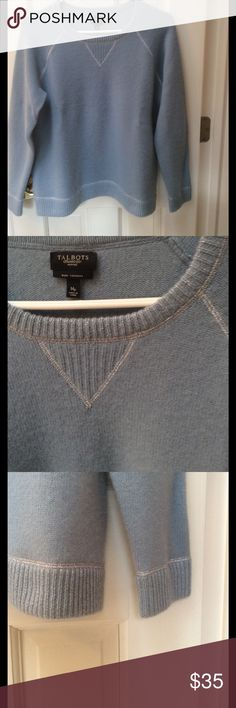 Cashmere pullover sweater Super soft with a silver thread running through the seams and bottom ribbing. 100% cashmere. Very minor pilling. Medium petite and the color is a dusty soft blue. Talbots Sweaters Crew & Scoop Necks