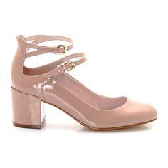 Μπεζ Mary Jane παπούτσια με διπλή μπαρέτα
