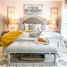 Fall is the season to create farmhouse cozy bedrooms with stimulating autumn colors and layers of texture. Serene Bedroom, Fall Bedroom, Cozy Bedroom, Beautiful Bedrooms, White Ruffle Bedding, Family Bed, Vinyl Panels, Accent Wall Colors, Liberty Furniture