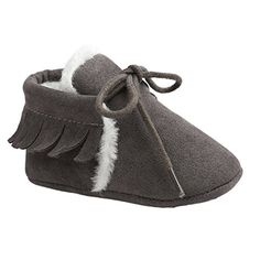 FireFrog Baby Boy Girl Winter Moccasins Tassel Lace Up Fleece Sole Prewalker Shoes Dark Grey 06 Months >>> More info could be found at the image url.Note:It is affiliate link to Amazon.