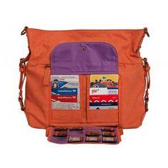 2 Sues Bag I Orange Sherbet  $199. Fits cameras, too.