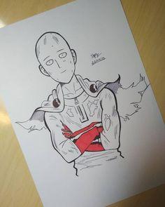 Anime Art by Incredible Anime Artists: Welcome to Anime Ignite Anime Drawings Sketches, Anime Sketch, Manga Drawing, Cartoon Drawings, Cool Drawings, Saitama One Punch Man, Anime One Punch Man, Manga Anime, Anime Art