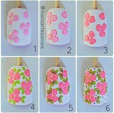Image may contain: 1 person Rose Nail Art, Pink Nail Art, Floral Nail Art, Rose Nails, Nail Polish Art, Nail Art Diy, Flower Nails, Diy Nails, Flower Nail Designs