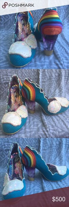 Irregular Choice Shirley Bass The rarest of and fairest of them all. Irregular Choice hit the nail and the head with these shoes that are truly somewhere over the rainbow. Very rare and highly sought after. Worn only twice by me and in pristine condition. US Size 7 Euro Size 38. Can also fit a small size 8. Irregular Choice Shoes Heels