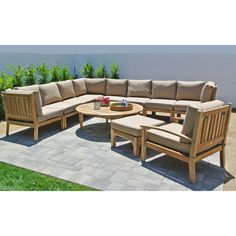 Outdoor Willow Creek Huntington 11 Piece Teak Sectional Patio Conversation Set with Chat Table Bravada Limelite