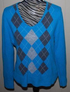 100% Cashmere Ladies Sweater Size XL V-Neck Argyle Turquoise Gray White Apt 9 #Apt9 #VNeck