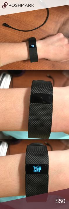Black Fitbit Charge HR w/ charger Black, size small, gently used, minor scratches Fitbit Accessories Watches