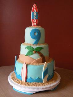 surf-themed birthday cake