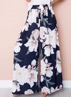 Fashion High Waist Floral Wide Leg Pants NOVASHE.com