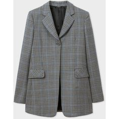 Paul Smith Women's Regular-Fit Puppytooth-Check Wool Long Blazer ($935) ❤ liked on Polyvore featuring outerwear, jackets, blazers, checkered blazer, paul smith blazer, fitted blazer, long length blazer and long line blazer