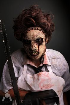 31 Days of Halloween makeup Leatherface by Amanda Chapman www.facebook.com/amandachapmanphotography #Halloween #halloweenmakeup #makeup #halloweencostume #leatherface #texaschainsawmassacre #texaschainsaw #leatherfacemakeup #leatherfacecostume