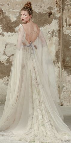 rara avis 2017 bridal hanging sleeves spaghetti strap deep sweetheart neckline tulle bodice tulle skirt champagne romantic soft a line wedding dress open back chapel train (5) bv