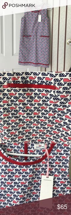 NWT Vineyard Vines dress (Memorial Day/July 4th) 🇺🇸🇺🇸NWT Vineyard Vines XS dress.  Patriotic and perfect for Memorial Day / Fourth of July.  Whales are Stars and Stripes.  If purchased today can guarantee shipment today (May 24) in time for Memorial Day!  Super cute but doesn't fit me ☹️🇺🇸🇺🇸 Vineyard Vines Dresses Mini