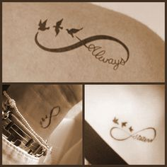 Infinity tattoo with three swallows For my me and my sisters ánd me and my two best friends.. Hope, freedom and eternal love between family and friends