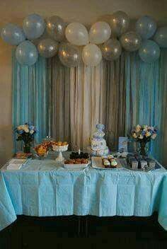 blue silver and white cake table