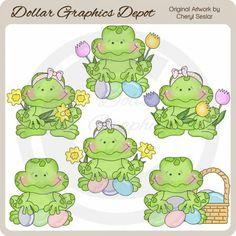 Happy Frogs - Easter - Clip Art